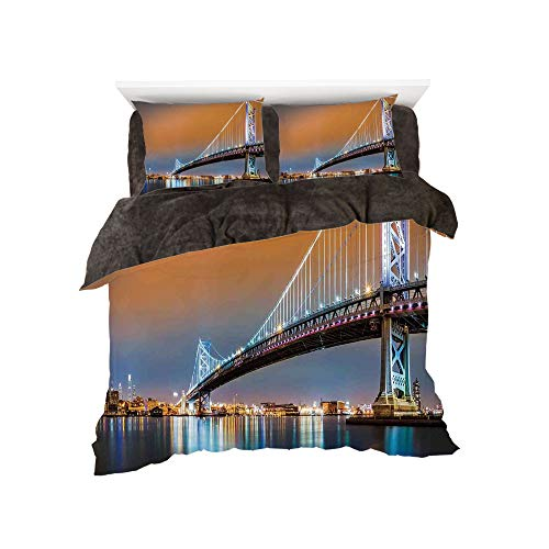 Flannel 4 Piece Cotton Queen Size Bed Sheet Set for bed width 5ft Winter Holiday Pattern by,Apartment Decor,Ben Franklin Bridge and Philadelphia Skyline Viewed from Camden Across the Delaware River De