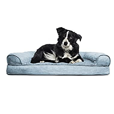 FurHaven Large Plush & Suede Orthopedic Sofa Pet Bed for Dogs and Cats, Deep Pool