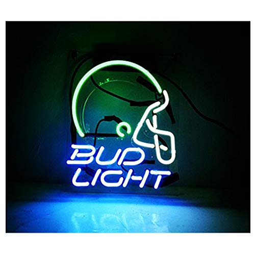 Neon Sign Helmet Bud Light for Garage Store Bar Game Room Window Wall Decorative Sign Light 10 x 8 Inch Blue (Neon Garage Signs)