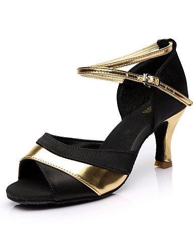 Silber Damen Salsa und Satin Gold ShangYi Schwarz Heel Tanzschuhe Latin Customized Rot Anpassbare Gold 5IqwHzw67
