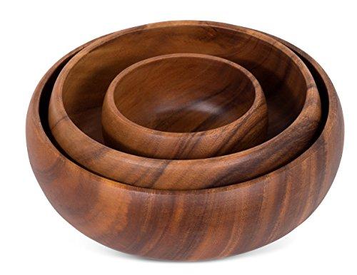 BirdRock Home Round Calabash Bowls | Set of 3 | Acacia Wood Bowls
