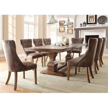 Homelegance Marie Louise 9 Piece Dining Room Set In Rustic Brown