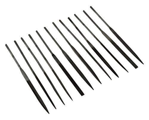 SE 731NF 12-Piece Fine Cut Needle File Set in Assorted Shapes (3mm x 140mm) -