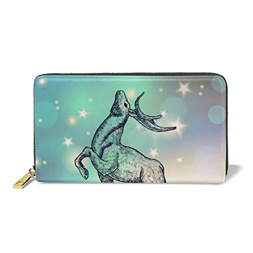 Women Leather Wallet Zipper Around Clutch Purse Waterproof Card Holder Slim Handbag - Deer ()