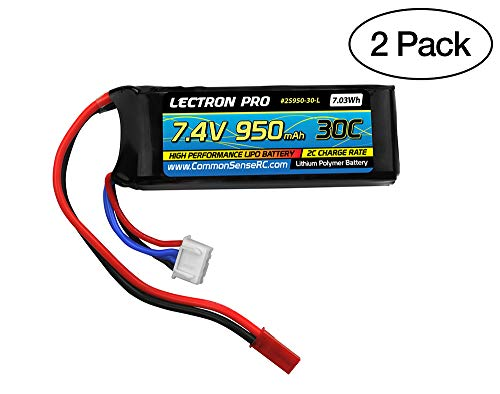 Common Sense RC 2-Pack of Lectron Pro 7.4 Volt - 950mAh 30C Lipo Pack for The Blade 200 QX and CX/CX2/CX3