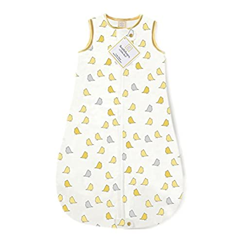 SwaddleDesigns Cotton Sleeping Sack with 2-Way Zipper, Made in USA, Premium Cotton Flannel, Yellow Little Chickies, 3-6MO