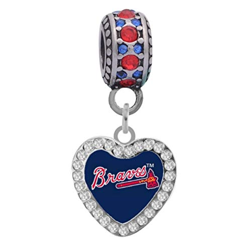 Final Touch Gifts Atlanta Braves Crystal Heart Charm Fits Most Bracelet Lines Including Pandora, Chamilia, Troll, Biagi, Zable, Kera, Personality, Reflections, Silverado and More …