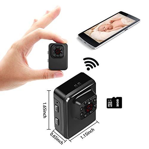 (Mini WiFi Camera Wireless Small Camera 1080P HD 32GB Portable Sports Camera with IR Night Vision,Digital Video Recorder, Nanny Cam)