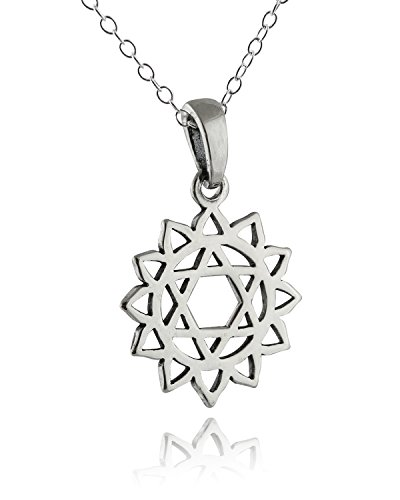 FashionJunkie4Life Sterling Silver Heart Chakra Outline Charm Pendant Necklace, 18 Inch Chain