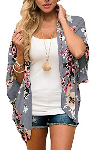 GSVIBK Womens Floral Print Kimono Loose Lace Chiffon Cardigan 3/4 Puff Sleeve Lace Patchwork Cardigans 216 Gray 2XL
