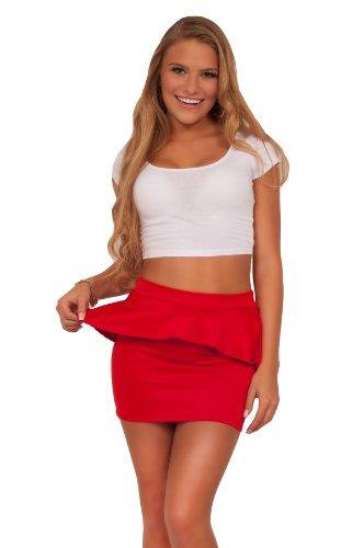 Sexy Soft Mini Peplum Ruffle Bodycon Stretch Clubwear Short Fitted Skirt