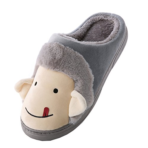 Karikatur PU-Leder Familie Pantoffeln-Unisex Winter warm Pl¨¹sch Bootie Schuhe Grau