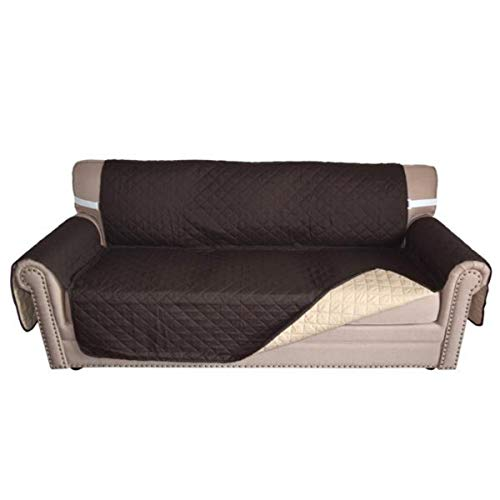 Central View Double Sided Sofa Slipcover, Beige/Chocolate Sofa Seat Cushion Cover, Micro Suede Couch Cover, Home Living Room Furniture Protector Cover (70.5