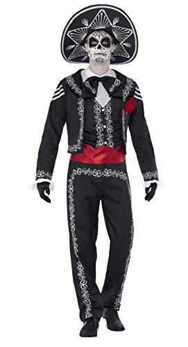 Smiffys Men's Day of the Dead Señor Bones Costume, Jacket, pants, Mock Shirt and Hat, Day of the Dead, Halloween, Size L, 43738 -