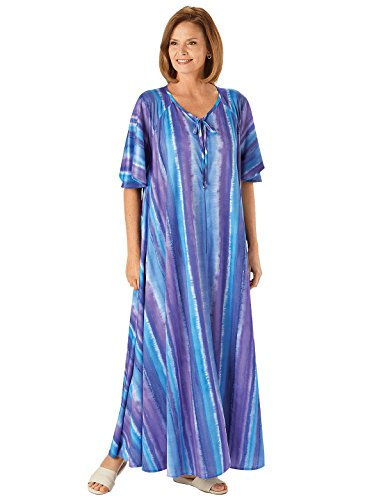 Carol Wright Gifts Floral Wide Sweep Zip Lounger, Blue, Size Extra Large (2X) (Front Zip Lounger)