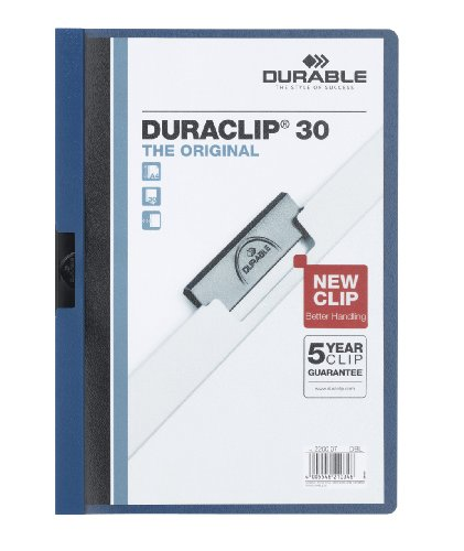 - Durable Duraclip 2200/07 Clip File for 1-30 Sheets A4 - Dark Blue (Pack of 25)
