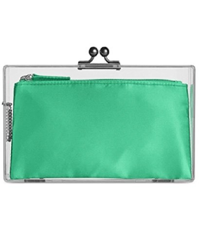 In Awe of You by AWESOMENESS TV Womens Clear Plastic Clutch Handbag Green (Tia Clutch)