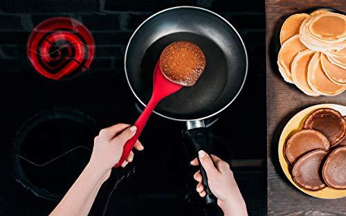 4M STAR Silicone Spoonula Spatula Spoon, High Heat Resistant to 680°F, Hygienic One Piece Design, Non Stick Rubber Cooking Utensil (Graphite Black)