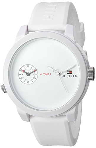 Tommy Hilfiger Men's 'Denim' Quartz Plastic and Rubber Automatic Watch, Color:White (Model: 1791324)