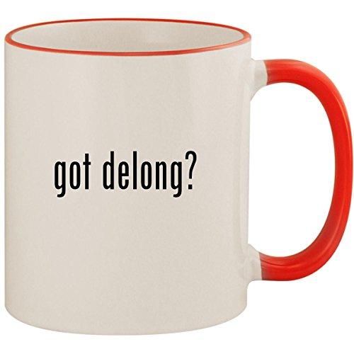 got delong? - 11oz Ceramic Colored Handle & Rim Coffee Mug Cup, Red