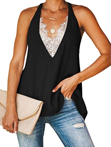 Minclouse Women's Lace Trim V Neck Tank Tops Sexy Racerback Loose Tops Black