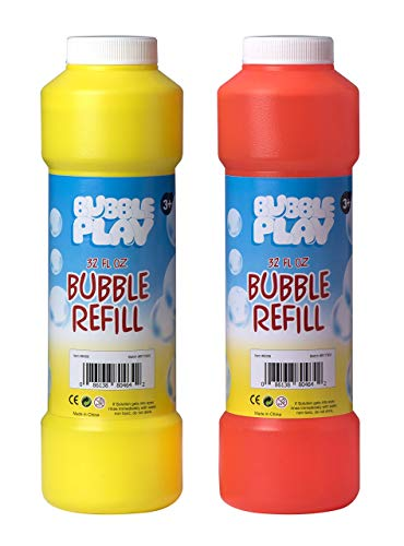 Price comparison product image Bubble Play 64oz Bubble Refill Pack - Jumbo Supply Includes [2] 32oz Bottles of High Concentrate, Non Toxic Solution for Use w/ Kids Bubble Machine, Wands, Blowers & Other Toys - Incredible Bulk Value