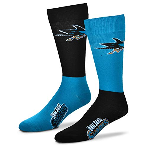 For Bare Feet Men's NHL 4-Square Mismatch Dress Socks-San Jose Sharks-Large (San Jose Sharks Hockey Socks)