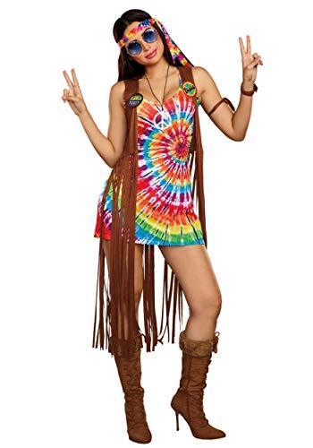 Dreamgirl Women's 1960's Tie-Dyed Hippie Hottie Costume, Multi, X-Large