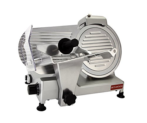 BESWOOD 10 Premium Chromium-plated Carbon Steel Blade Electric Deli Meat Cheese Food Slicer Commercial and for Home use 240W BESWOOD250