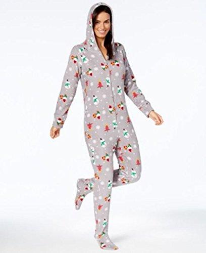 Family Pajamas Holiday Happy Gnomes Footed Pajamas (Womens, Medium) ()