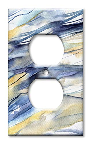 (Art Plates Duplex Outlet Cover Wall Plate - Blue and Tan Watercolor )