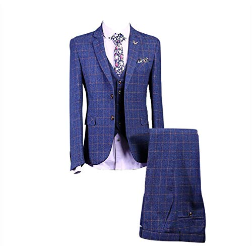 Classic Tweed Herringbone Wool Blend Men Suit 3 Pieces Blue with Gold Plaid Dark Striped Blazer
