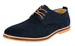 4how Men Oxford Casual Shoes Dress Lace Up Footwear Deep Blue Us 8.5