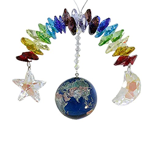 Oh My Gosh ! Earth Moon Star Crystal Rainow - Rainbow Maker - Crystal Suncatcher - Home, Living Room, Bedroom, Kitchen, Car Decoration - Porch Decor - Sun Catcher - Hangings Crystal Glass Ornament