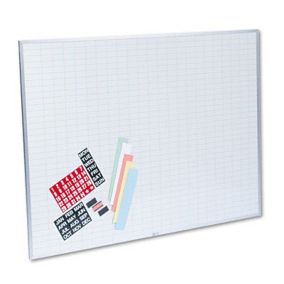 Magna Visual OB-3648B Magna Visual Magnetic Work/Plan Kit, 1x2 Grid, Porcelain-On-Steel, 48x36, BE/WE