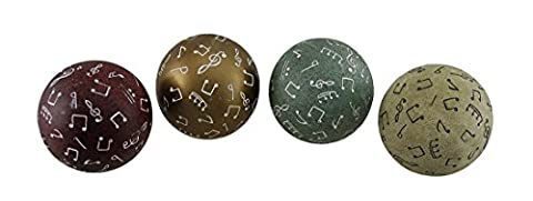 Resin Decorative Fruit And Balls En13040 4 Piece Set Of Colorful Music Motif Decorative Stone Finish Spheres 4 Inch 4 X 4 X 4 Inches Multicolored - Note Musicali Centrotavola
