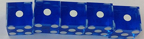 STICK (5) OF NEW BLUE PRECISION CUT DICE 19MM WITH SERIAL NUMBERS