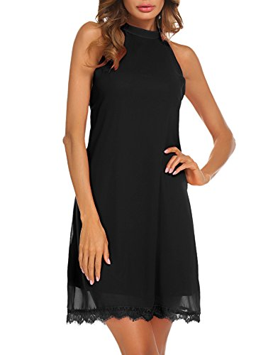 Lace Lined Little Black Dress - Sherosa Women's Casual Summer Sundress Sleeveless Halter Mini Short Tunic Dress (L, Black)