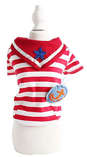 (MaruPet Summer Classical Puppy Doggie Striped Printed Navy Wind Shirt Vest Top for Small, Extra Small Dog Teddy, Pug, Chihuahua, Shih Tzu, Yorkshire Terriers Red XL)