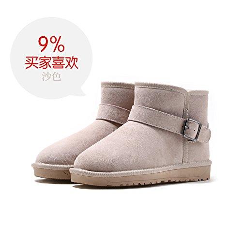 Barril Del Dama Nieve Zapatos La B Invierno Mate Corto Flyrcx De Gruesa Botas Cuero Terciopelo Más Caliente xEvpnFq