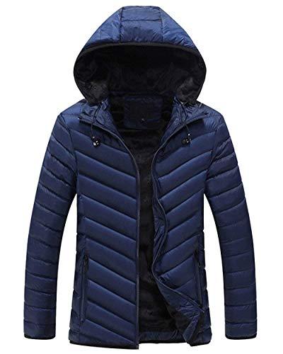 Caldo Lunga Blau Trapuntata Inverno Gli Ultraleggero Di Manica Parka Cappotto Con Giacca Bobolily Giù Uomini Cappuccio HZ7vqw