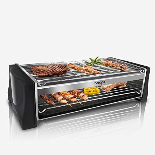 HENGBO Grill Electrique Barbecue Interieur de Table, Barbecue Balcon Grill Électrique Barbecue Portable, avec Bac de Récupération, 2000W, Noir
