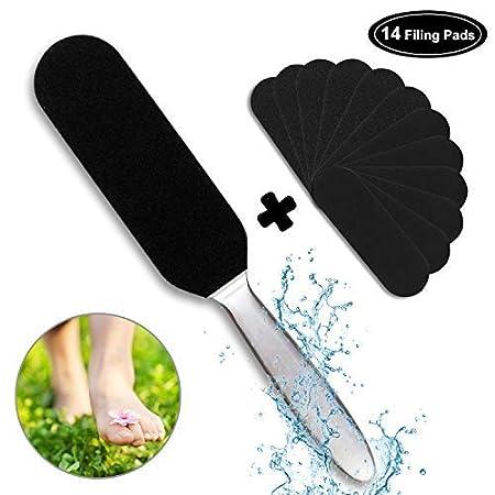 WOWGO Dispositivo di rimozione della pelle dura per pedicure, lima per piedi a doppia faccia in acciaio inossidabile con 12 ricariche extra FF-1
