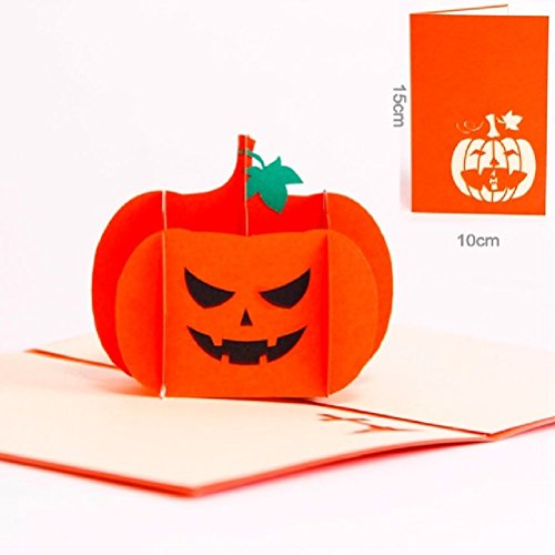 The Vintage Halloween Day 3D Pop Up Gift Cards Origami Greeting Cards Paper Pumpkin (Origami Halloween Pumpkin)