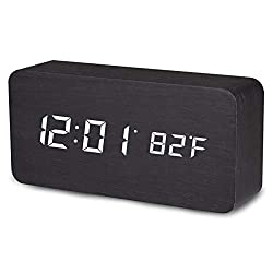 Digital Alarm Clock, Temperature Date LED Display Wood Grain Clock 3 Levels Brightness Voice Control Modern Simplicity Wood Digital Clock
