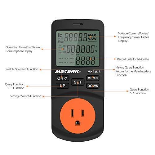 Electricity Usage KILOWATT Monitor Meterk Power Energy Meter Plug-in LCD Power Watt Meter Digital Timer Socket Home Consumption Tester 12/24 Mode