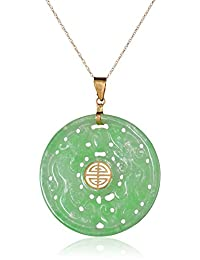 14k Yellow Gold Carved Green Jade Good Fortune Pendant Necklace, 18""