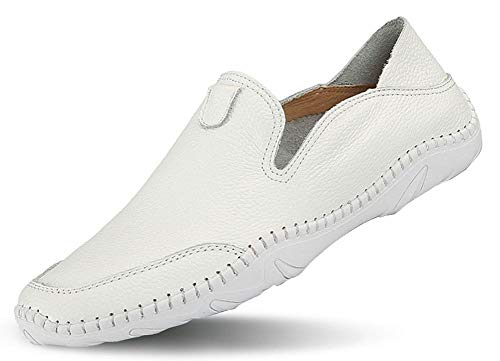 (JIYE Men's Premium Genuine Leather Casual Slip-on Loafers Breathable Driving Shoes Fashion Slipper,White,42EU=9US-Men)