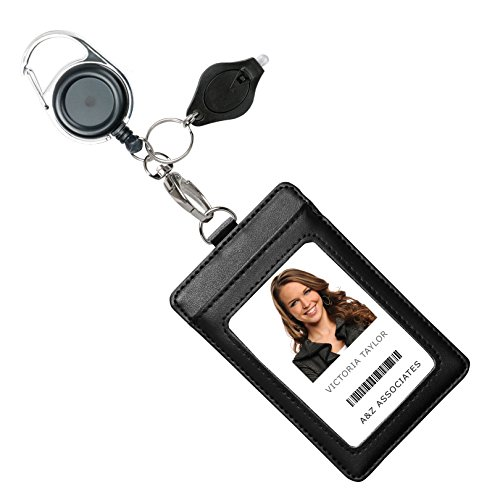 Genuine Leather ID Badge Holder Wallet with Heavy Duty Carabiner Retractable Reel, Key Ring and Metal Clip, 3 Card Pockets. Holds Multiple Cards & Keys. Bonus Key Chain Flashlight. Vertical. Black (Retractable Badge Holder Key Chain)