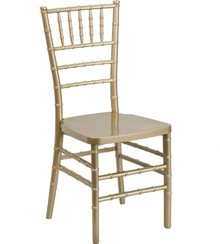 36.5'' Gold Resin Stacking Chiavari Chair (1 Chair) - FF-LE-GOLD-GG (Resin Pad Chair)